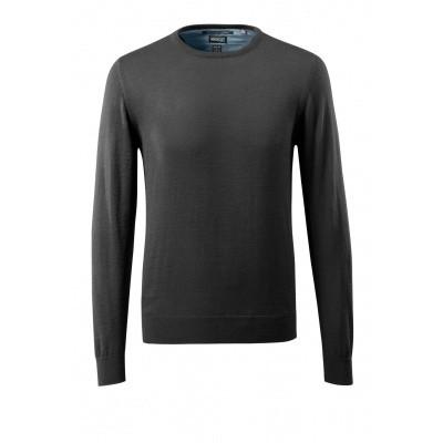 Gebreide trui ronde hals, met merinowol | 50636-989 | 09-zwart