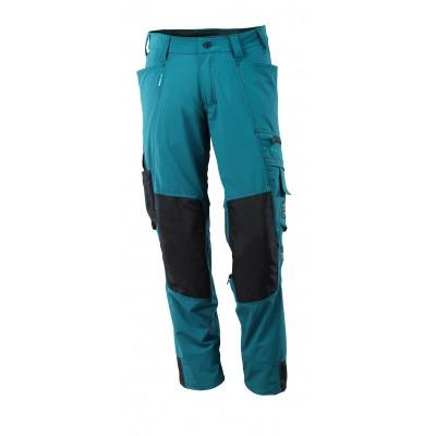 Broek met kniezakken, stretch, lichtgewi | 17179-311 | 044-donkerpetrol