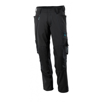 Trousers with kneepad pockets, stretch zwart
