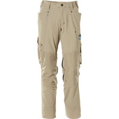 Trousers with kneepad pockets, stretch licht kaki