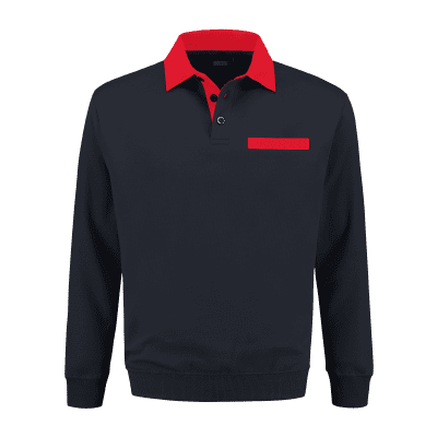 Foto van Indushirt PSW 300 Polosweater marine-rood