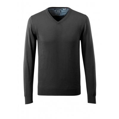 Gebreide trui V-hals, met merinowol | 50635-989 | 09-zwart