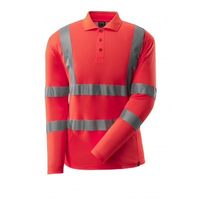 Foto van Poloshirt, lange mouwen, klasse 3 | 18283-995 | 0222-hi-vis rood