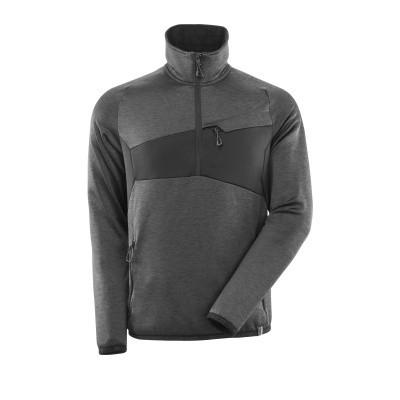 Mascot 18003 Fleece sweater met halve rits donker antraciet/zwart