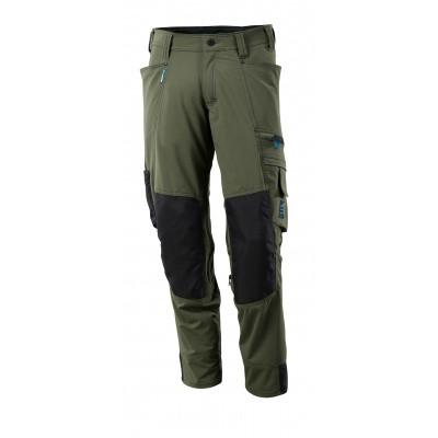 Broek met kniezakken, stretch, lichtgewi | 17179-311 | 033-mosgroen