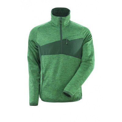 Mascot 18003 Fleece sweater met halve rits gras groen/groen