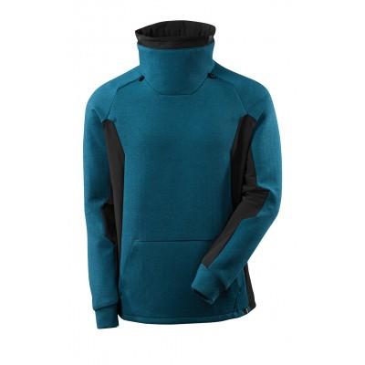 Sweater met hoge verstelbare kraag | 17584-319 | 04409-donkerpetrol/zwart