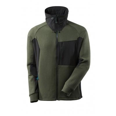 Sweater met rits, hoge kraag | 17484-319 | 03309-mosgroen/zwart