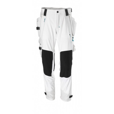 Broek, afneembare spijkerzakken, stretch | 17031-311 | 06-wit