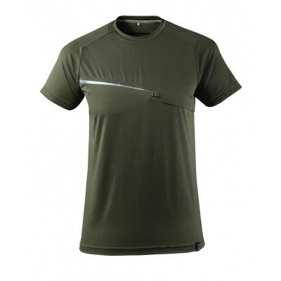 T-shirt met borstzak, vochtafdrijvend | 17782-945 | 033-mosgroen
