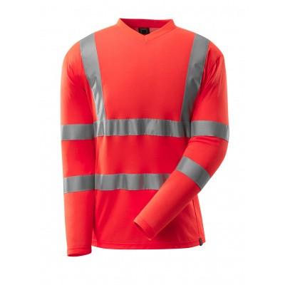 T-shirt, V-hals, lange mouwen, klasse 3 | 18281-995 | 0222-hi-vis rood