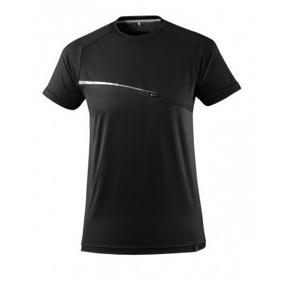 T-shirt met borstzak, vochtafdrijvend | 17782-945 | 09-zwart