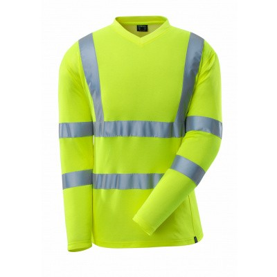 T-shirt, V-hals, lange mouwen, klasse 3 | 18281-995 | 017-hi-vis geel