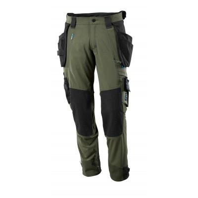 Broek, afneembare spijkerzakken, stretch | 17031-311 | 033-mosgroen