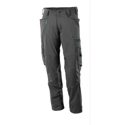 Trousers with kneepad pockets, stretch donker antraciet