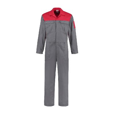 Bestex Overall 2 kleurig 100% katoen| OVK2KL | 0882-grijs/rood