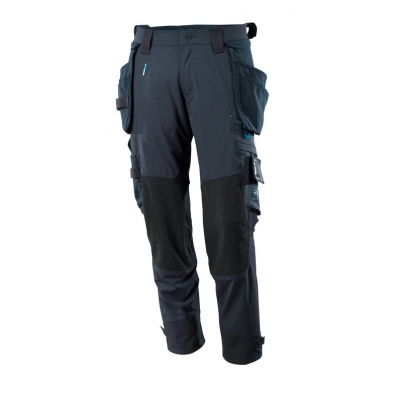 Trousers, holster pockets, stretch donker marine