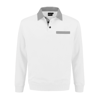 Foto van Indushirt PSW 300 Polosweater wit-grijs