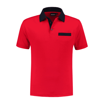 Foto van Indushirt PS 200 Polo-shirt rood-marine