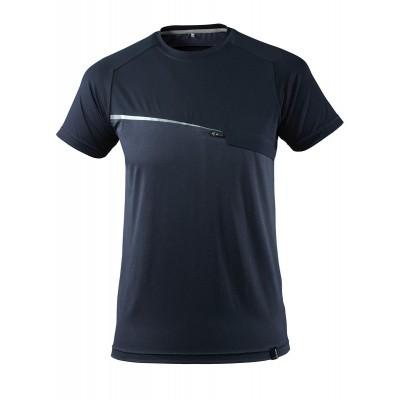 T-shirt met borstzak, vochtafdrijvend | 17782-945 | 010-donkermarine