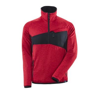 Mascot 18003 Fleece sweater met halve rits signaal rood/zwart