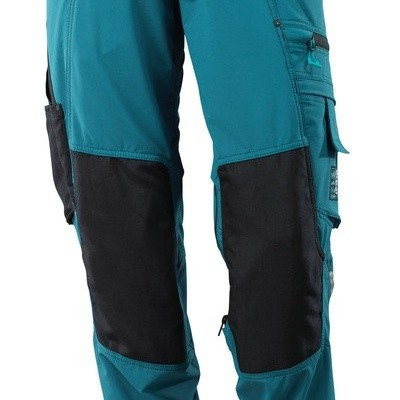 Trousers with kneepad pockets, stretch donker blauw