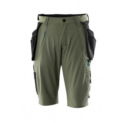 Shorts, afneembare spijkerzakken,stretch | 17149-311 | 033-mosgroen