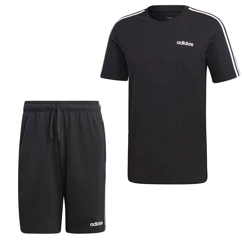 Afbeelding van Adidas Essentials 3 Stripes Set Zwart