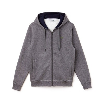 Lacoste Hooded Zippered Fleece Sweater