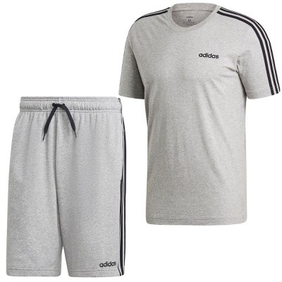 Foto van Adidas Essentials 3 Stripes Set Medium Grey