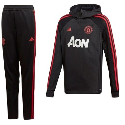 Foto van Manchester United Hooded warm Up Pak Kids Zwart-Rood