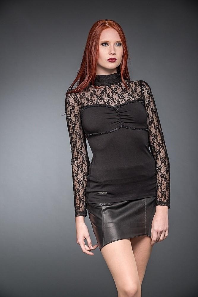 Shirt met Kanten Halslijn en Lange Mouwen