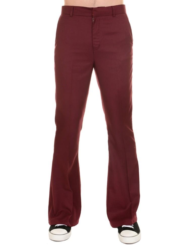 Pantalon 60s 70s wijde pijpen burgundy