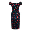Afbeelding van Collectif pencil jurk Dolores 50's zwart met rode kersen
