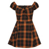 Afbeelding van Collectif mini jurk Dolores Pumpkin, oranje zwarte tartan