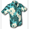 Afbeelding van Overhemd korte mouw Flowers creme turquoise