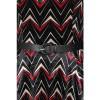 Afbeelding van Jurk Chevron, zwart fluweel met rood wit zigzag patroon