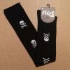 Afbeelding van Flirt | Overknee sokken zwart met witte skulls