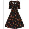 Afbeelding van Collectif   Zwarte jurk Trixie Midnight met oranje lelies