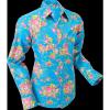 Afbeelding van Overhemd cowboy, Roses light blue