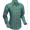 Afbeelding van Overhemd Retro, Screens turquoise bordeaux