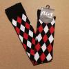 Afbeelding van Flirt | Overknee sokken rood zwart wit geruit
