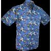 Afbeelding van Overhemd korte mouw, Palmen blauw