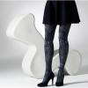 Afbeelding van Panty paisley jacquard patroon, grijs teal