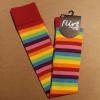 Afbeelding van Flirt | Overknee sokken gestreept regenboog rode band