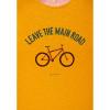 Afbeelding van Green Bomb | T-shirt bike leave road, bio katoen goud geel
