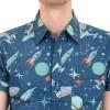 Afbeelding van Overhemd korte mouw retro beam me up space rockets