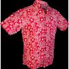 Afbeelding van Overhemd korte mouw, Flowers and fruit creme rood