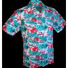 Afbeelding van Overhemd korte mouw, Flamingos jungle licht blauw