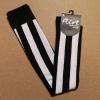 Afbeelding van Flirt | Overknee sokken zwart wit diagonale streep